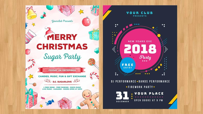 Desain Cetak Poster Untuk Natal dan Tahun Baru Percetakan