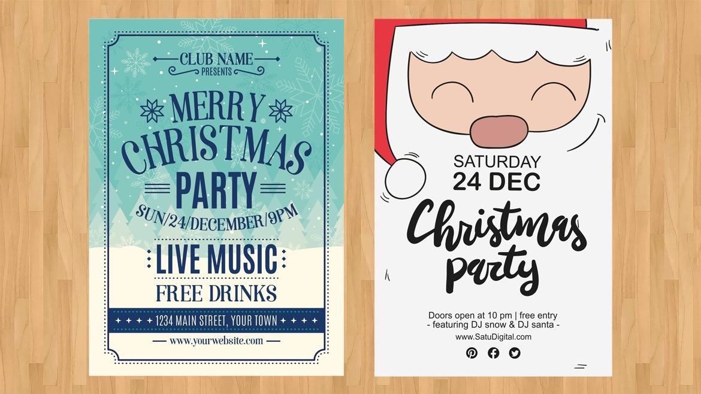 Desain Cetak Poster Untuk Natal dan Tahun Baru